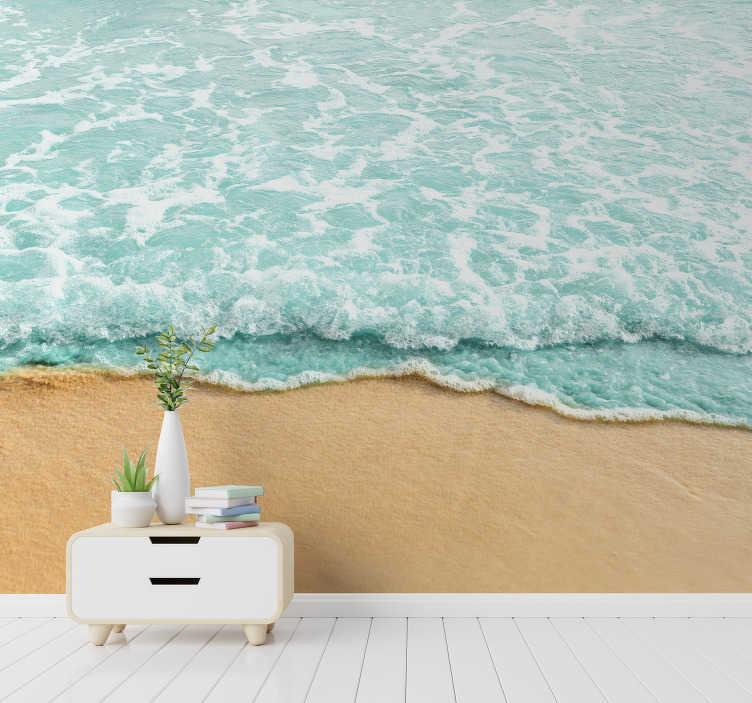 Tenstickers. Vågor 3d av väggmålningen för havslandskap. Du bor inte nära stranden men älskar havet? Detta landskap väggmålning är precis vad du behöver för att dekorera dina väggar!