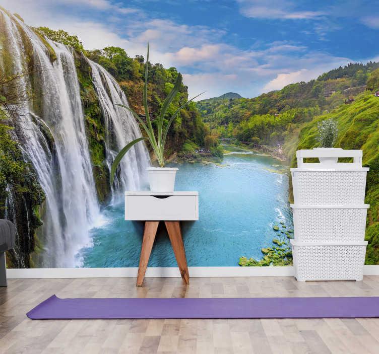 TenVinilo. Mural pared de cascada de río. ¡El agua tiene el poder de calmar nuestras mentes y hacernos felices obtener este fotomural de paisajes para decorar su hogar u oficina!