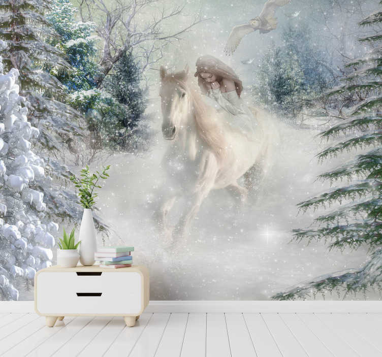 TenStickers. White Horse animal wall mural. This fantasy photo mural is a wonderful decoration for the walls in your home Whether it is the bedroom, the kitchen or any other room that you like!