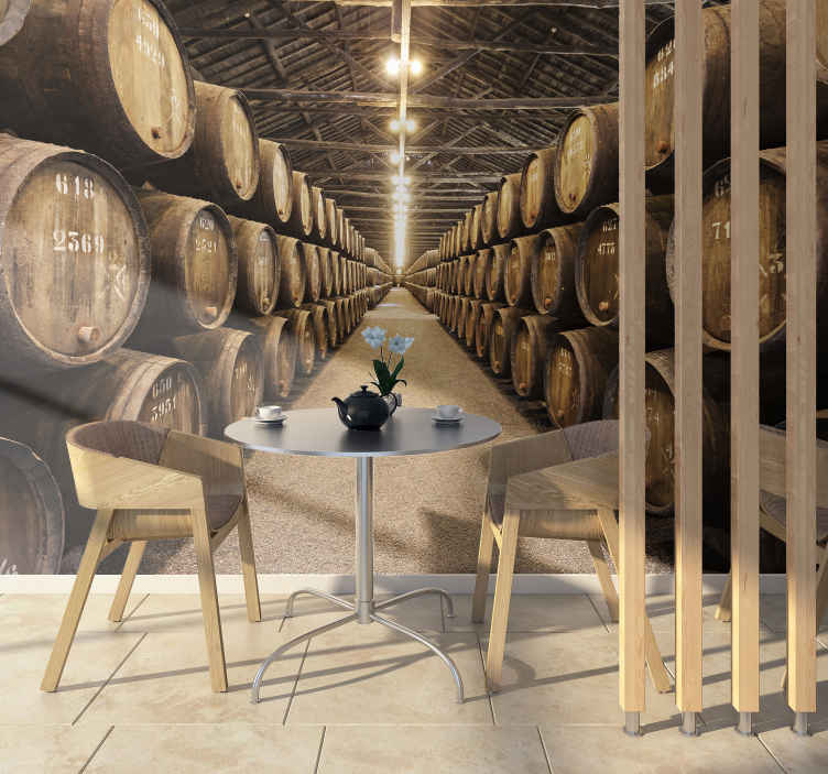TenStickers. Wine barrels pattern wall mural. This wood wall mural shows a huge room filled with wine barrels. Every wine lover will want this photo wallpaper at home or the office!