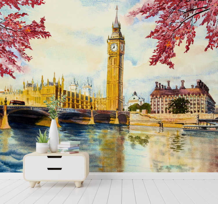 TenStickers. Painting Big Ben City wall mural. This photo wallpaper shows a beautiful painting of the Big Ben in London. The colors are bright and you will notice the high quality of the material.