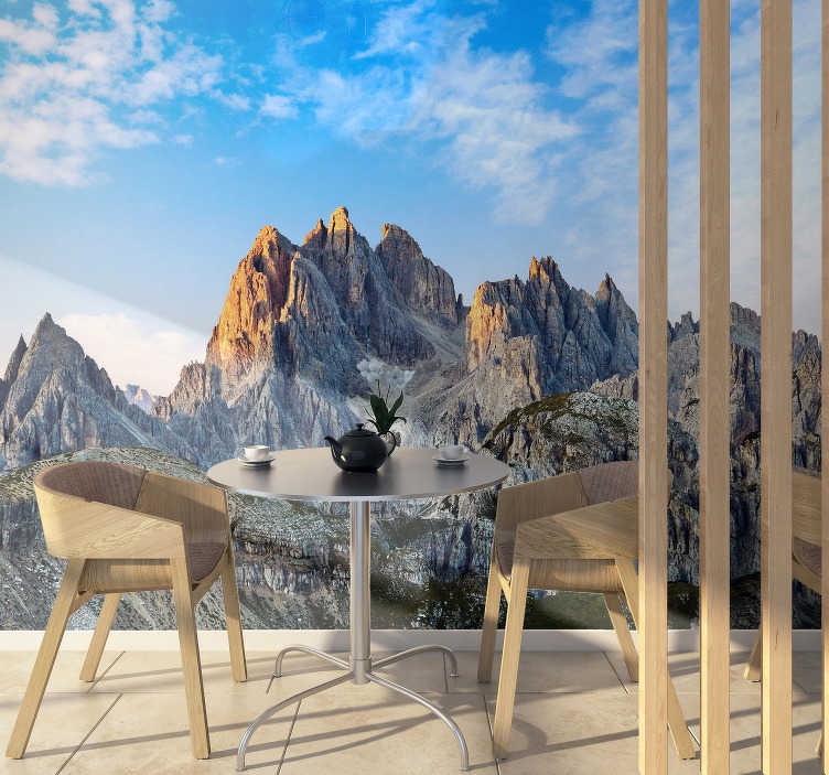 TenStickers. Three Peaks Dolomites landscape wall mural. This mountain wall mural shows the stunning Three Peaks in the Dolomites mountains. The photograph and material is of high quality!