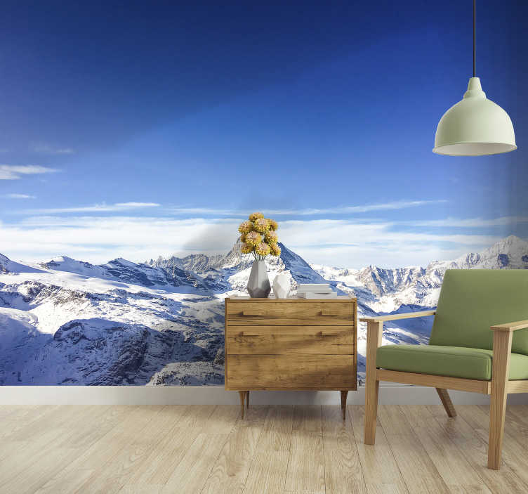 TenStickers. Matterhorn Mountain in winter wall mural. This scenery photo wallpaper shows the fantastic mountain Matterhorn in winter. Especially the color blue is looking great in your home.
