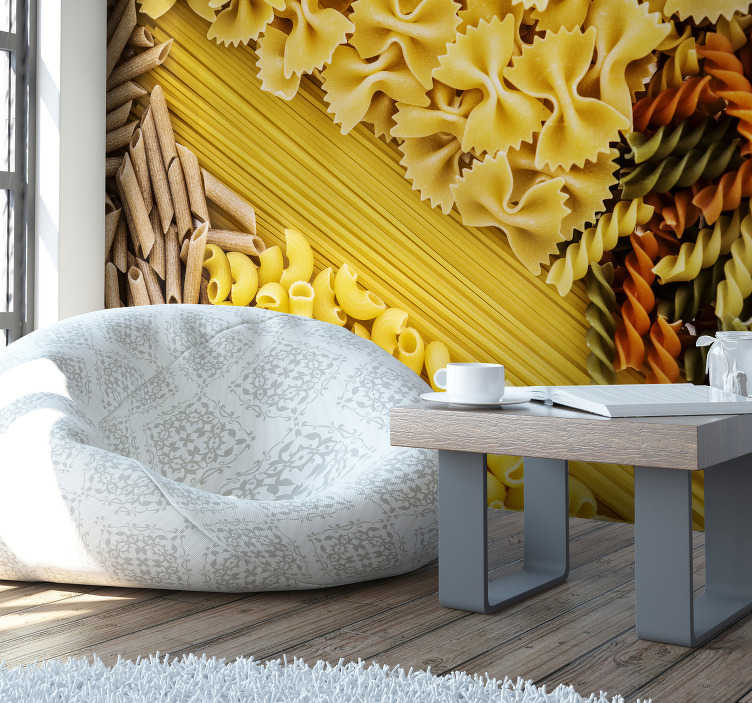 TenStickers. Different Pasta pattern wall mural. This kitchen photo wallpaper shows different kinds of pasta from beautiful Italy. The bright colors will be the highlight of your home!