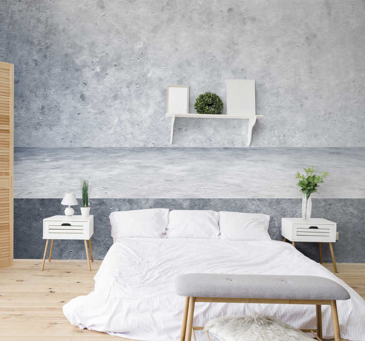 TenStickers. Concrete wall pattern wall mural. This bedroom photo mural shows a beautiful grey wall made of concrete. The great colors of this product will be the perfect decoration for you!