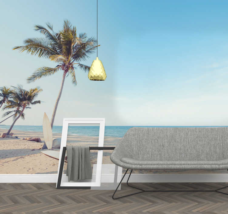 TenStickers. Tropical beach with palm tree landscape wall mural. Tropical beach with palm tree landscape wall mural design of a beach view with beautiful palm trees and blue sky to relax your imagination.