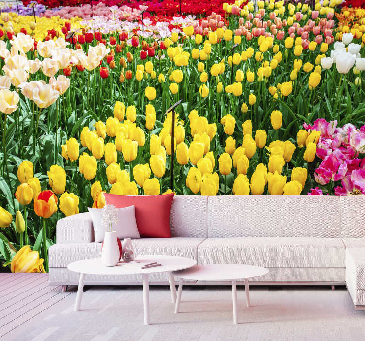 TenStickers. Tulipaner, blomst, vægmaleri. Et smukt tulipan blomstermaleri design. Dette design indeholder tulipaner i flere farver som en have. Dette produkt er let at anvende.