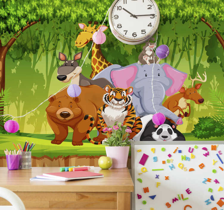 TenVinilo. Mural infantil de animales salvajes al aire libre. Diseño de papel mural pared de dormitorio de niños salvajes al aire libre creado con animales como elefante, tigre, oso, cebra en un hermoso parque.