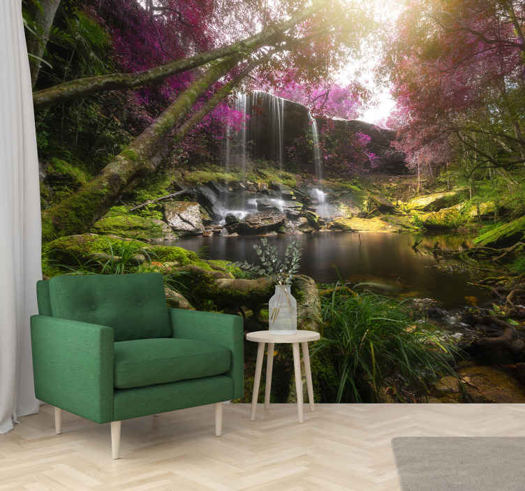 TenStickers. Wild jungle with waterfall  Forest mural. Wild forest jungle with waterfall landscape wall mural design showing thick trees with flourishing plants and flowers. This design is easy to apply.