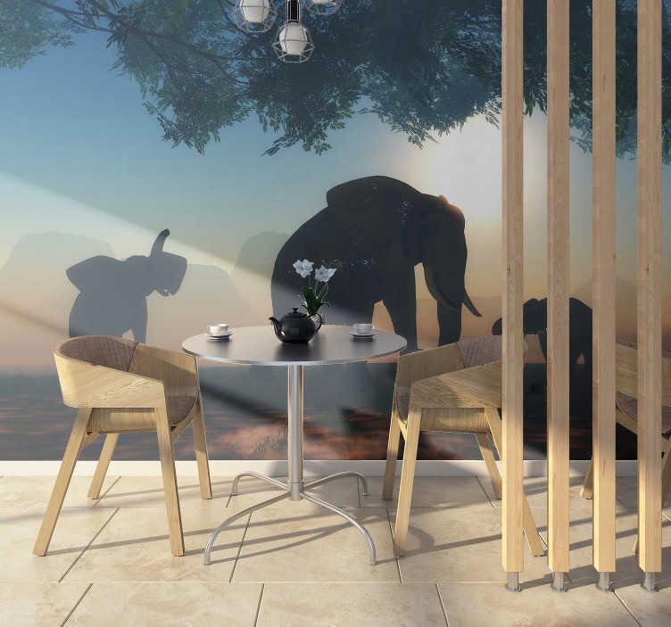 TenStickers. 野生大象壁画壁纸. 一张野生大象动物壁画,将在您的客厅中营造出美丽的野生动物公园的外观,您将始终欣赏美景。