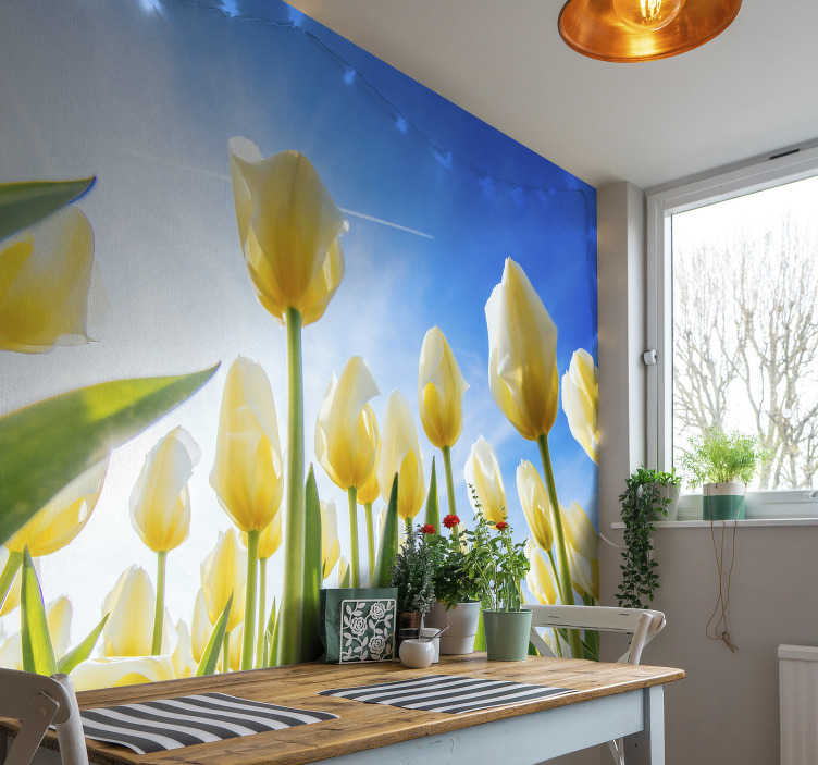 TenStickers. White tulip landscape flower wall mural. A White tulip flower landscape wall mural on a blue background that will be lovely in your kitchen or any place of your choice. Easy to apply design.