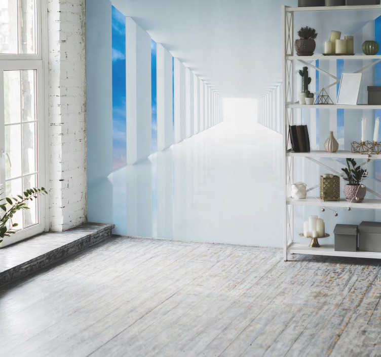 TenStickers. Walk in the sky 3D Mural Wallpaper. Talk a walk in the sky with this 3D wall mural. A design depicting a long white corridor leading to a mystery place! To the left is a view of the sky