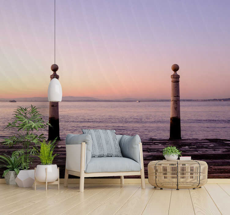 TenStickers. A view to the Atlantic landscape wall mural. Atlantic landscape wall mural that has the design of the sea, the appearance of the sun setting upon it, revealing beautiful horizon.