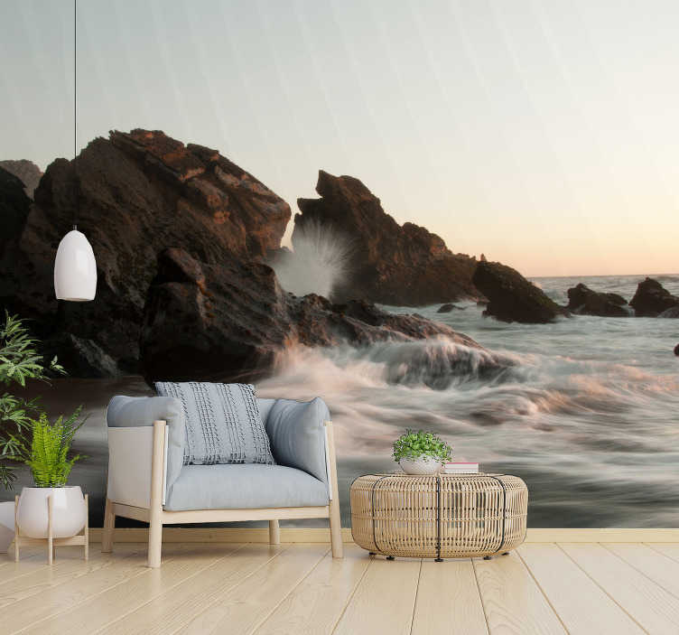 TenStickers. Atlantic Waves landscape wall mural. Atlantic Waves landscape wall mural design that contains the sea rocks of volcanic eruption and the heavy Atlantic wave of the sea and the cloudy sky.