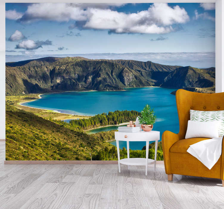 TenStickers. Lake of Fire landscape wall mural. Lake of Fire landscape wall mural design contains a massive volcanic rock , the sea, the valley with green grasses and the huge cloud of fire.