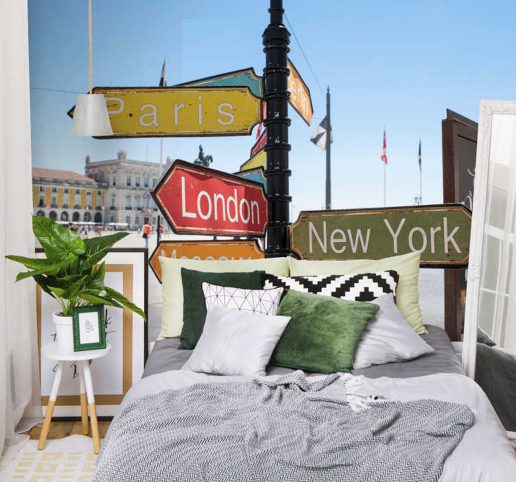 TenStickers. Locations mural wallpaper. Beautiful wallpaper of cities location of London, New York, Berlin and more that will change the appearance in your living room and bedroom.