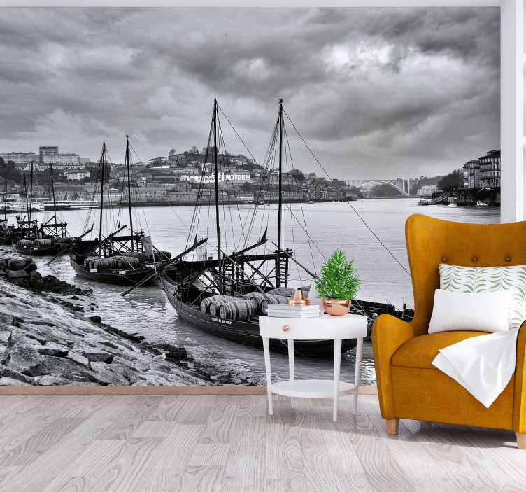 TenStickers. Rabelos mural wallpaper. Rabelos wall mural Design of several Boats in line sailing on the sea at night. This design is very adhesive with high quality matte finishing .