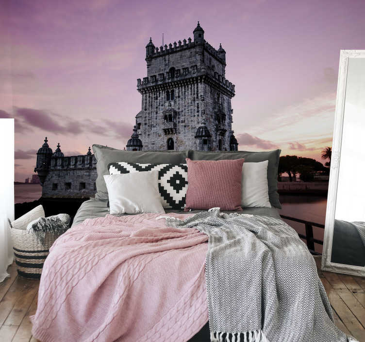 TenStickers. Belem Tower at Dawn mural wallpaper. Belem Tower at Dawn wall mural is a design of the monument of St Vincent in the 16th century fortification located in Lisbon. Its of very high quality