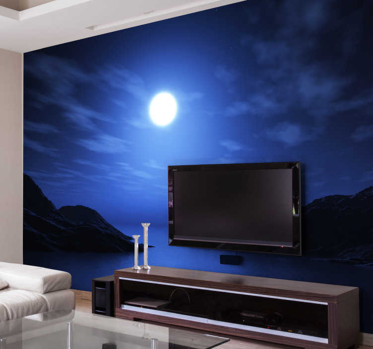 TenStickers. Sea and Moon Wall Mural. What better way to drift off into a deep sleep than with this incredible Sea and Moon mural wallpaper? Worldwide delivery!