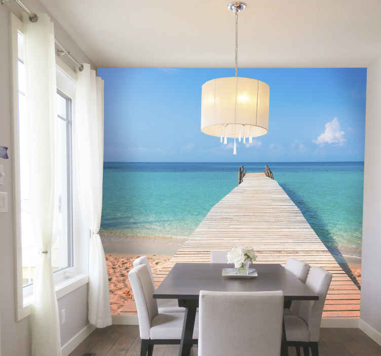 TenStickers. On the beach sea wall mural. Jet off to your own private beach with this sea wall mural. This design will make you wish this was a portal to this exact beach