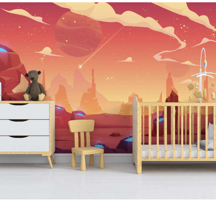 TenStickers. Visit to space Children´s Wall Murals. This children photo wallpaper shows a cool space scene in orange shades and planets in the background You will be impressed by the  bright colors !