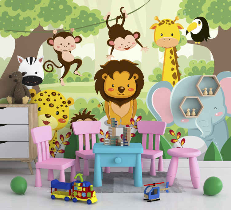 TenStickers. Wild animals Children´s Wall Murals. This children photo wallpaper shows a painted image of a group of wild animals in the jungle. You will be impressed by the bright colors!