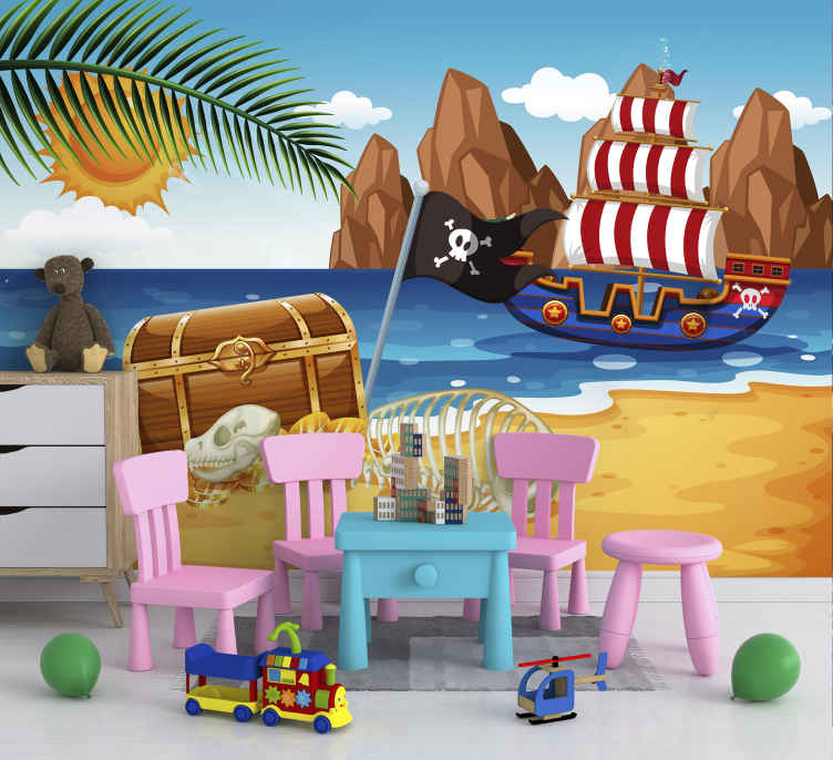 TenStickers. Pirate treasure Children´s Wall Murals. This children photo wallpaper shows a scene with a pirate boat and a big treasure. The bright colors will be the highlight in your home!