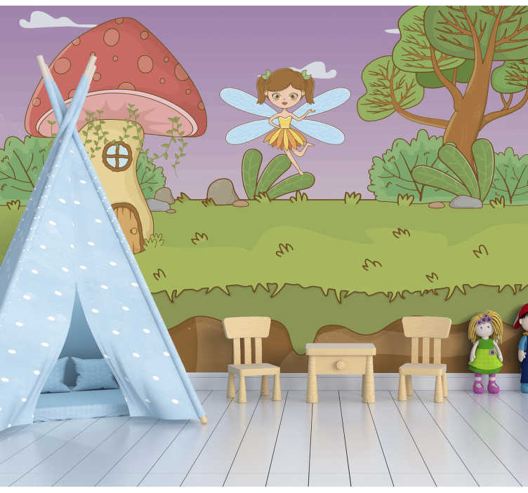 TenStickers. Mushroom and Fairy Children´s Wall Murals. This fantasy forest wall mural shows a mushroom house with a ferry in woodland The colors on this image are very bright and will decorate your home!