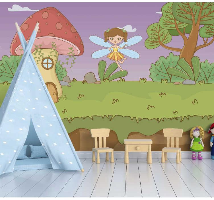 TenStickers. Stenske slike z gobami in pravljičnimi otroki. Ta fantazijski gozdni stenski mural prikazuje gobarsko hišo s trajektom po gozdu, barve na tej sliki so zelo svetle in bodo okrasile vaš dom!