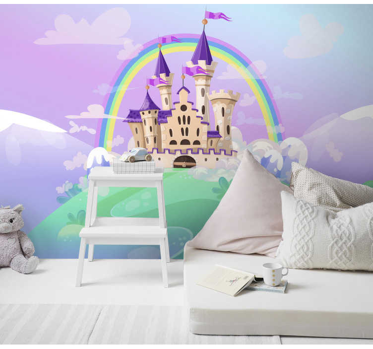TenStickers. Kids Murals The Princess Castle. Order a fantasy wall mural will be perfect for your child who loves magical fairyplace full of amazing adventures and stories. Vivid colours!