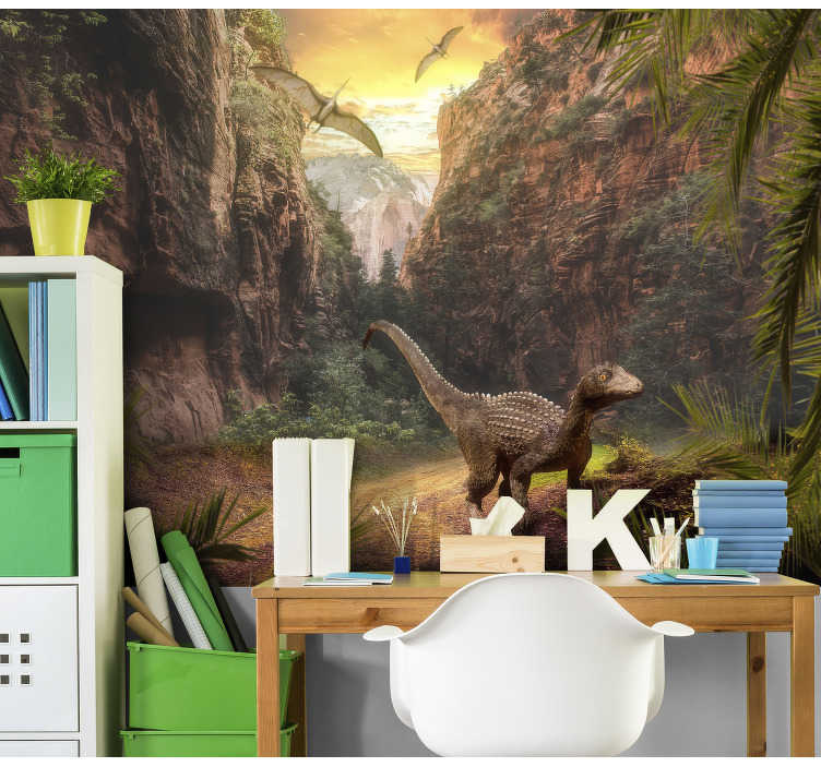 TenStickers. Jurassic parc Children´s Wall Murals. This animal photo wallpaper shows dinosaurs with great mountains in the background The colors are bright and will be a perfect decoration!