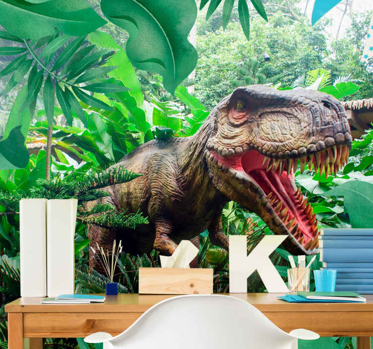 TenStickers. Kids Murals Dinosaur T-rex. Check out this children's mural with this amazing, realistic T-rex  in the jungle. Wake up your creativity with this amazing design!