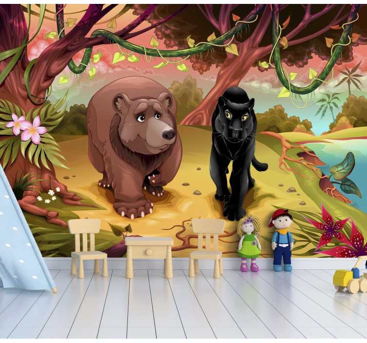 TenStickers. Wall mural animals in the jungle. Wall murals for children are one of the quickest way to transform their rooms. They will love this design of animals in the jungle.