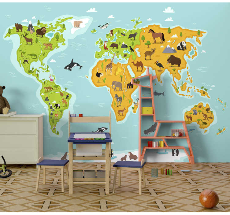 TenStickers. Animal worldmap animal wall mural. This animal photo wallpaper shows a world map with all the important animals of this planet The colors on this image are very bright!