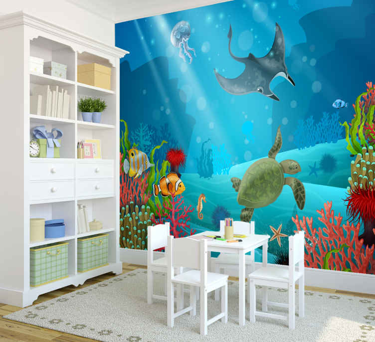 TenStickers. Underwater animal wall mural. This large wall mural can be ordered in any size, and will make every wall of the house special, Let your child also this!