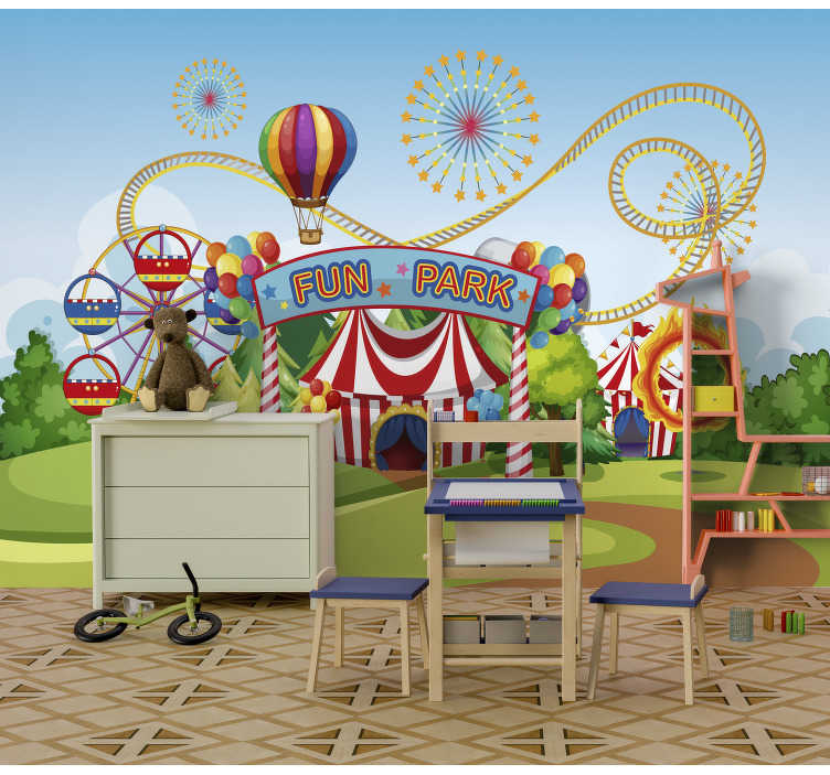 TenStickers. Fun park  Children´s Wall Murals. This colorful, kids mural will make your kids very happy just by looking at it and imaging their selfs that they are at the fun park at the moment.