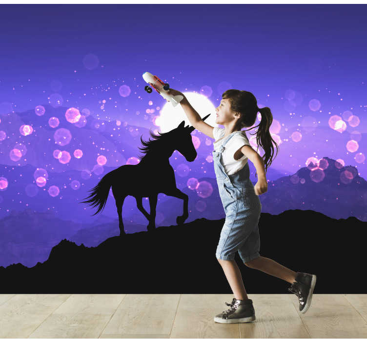 TenStickers. Silhouette Unicorn Children´s Wall Murals. This beautiful photo wall mural shows the black silhouette of a unicorn and glitter and purple mountains in the background.