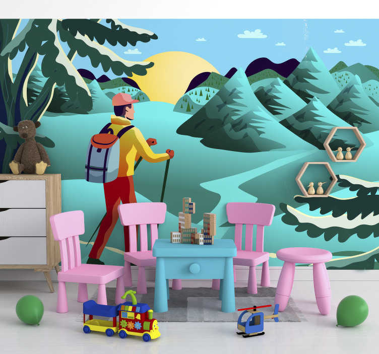 TenStickers. Kids Murals Adventure land. Forget about boring walls with this amazing forest wall mural with the design of animated landscape. Full of trees and magic.