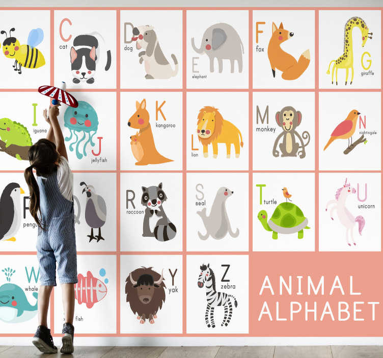 TenStickers. Kids Murals Animal alphabet names. This children's wall murals will make your rooms a lovely decorated place and help your children learn alphabet. There is an amazing animal motif.