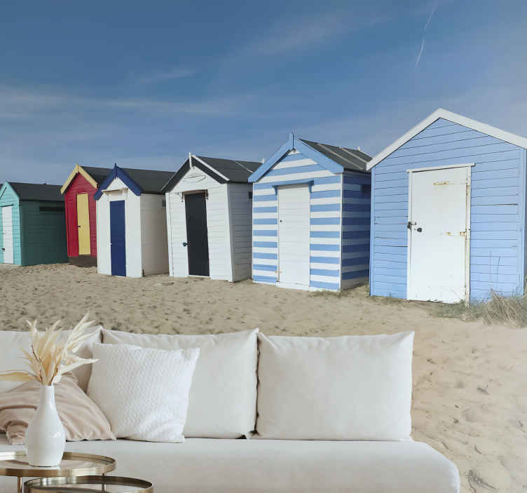 TenStickers. Wall mural Beach huts in Southwold. Order this high quality scenery photo mural that shows arow of colorful beach huts. High quality of the ink and matte finishing.