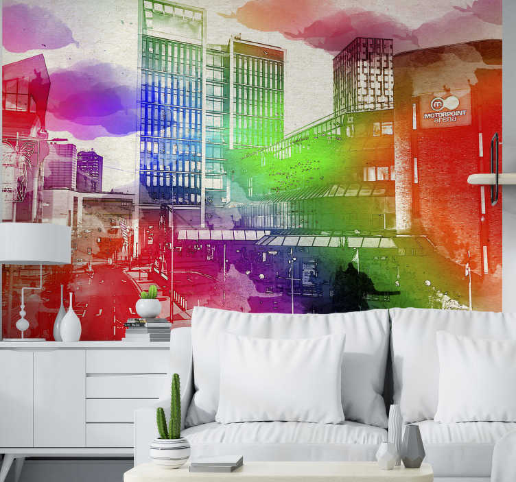 TenStickers. Cardiff skyline mural wallpaper. This city wall mural shows the skyline of Cardiff with many colors in the foreground The colors on this image are very bright and a great decoration!