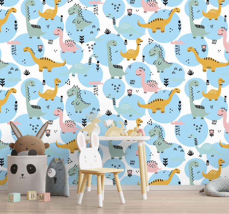TenStickers. Kids wall murals dinosaurs. Animal wall mural is a quick way to renew any place in your house and create a lovely and cosy atmosphere. Perfect for your children!