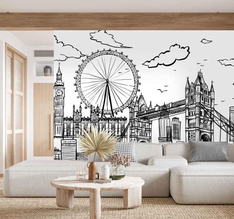 TenStickers. 런던 도시 벽 벽화의 그림. 이 런던 벽화는 런던의 스카이 라인을 흑백으로 보여줍니다. 이 이미지의 건축과 디자인은 놀랍습니다!
