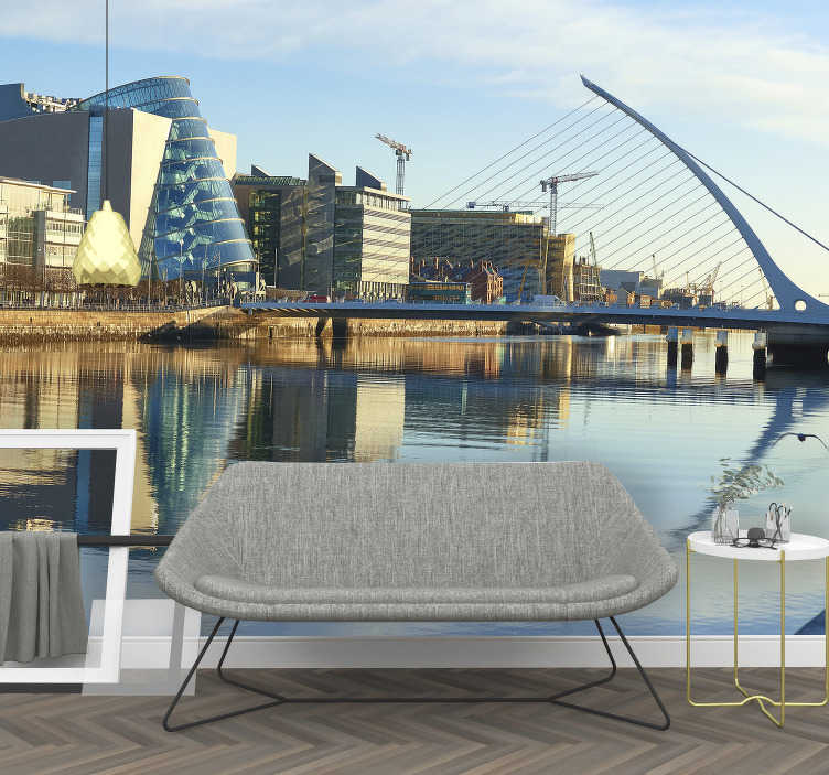 TenStickers. City wall mural Dublin river. Wall murals for bedrooms are one of the newest trend in the world of decorations. This one with spectacular skyline of Dublin is perfect for you.