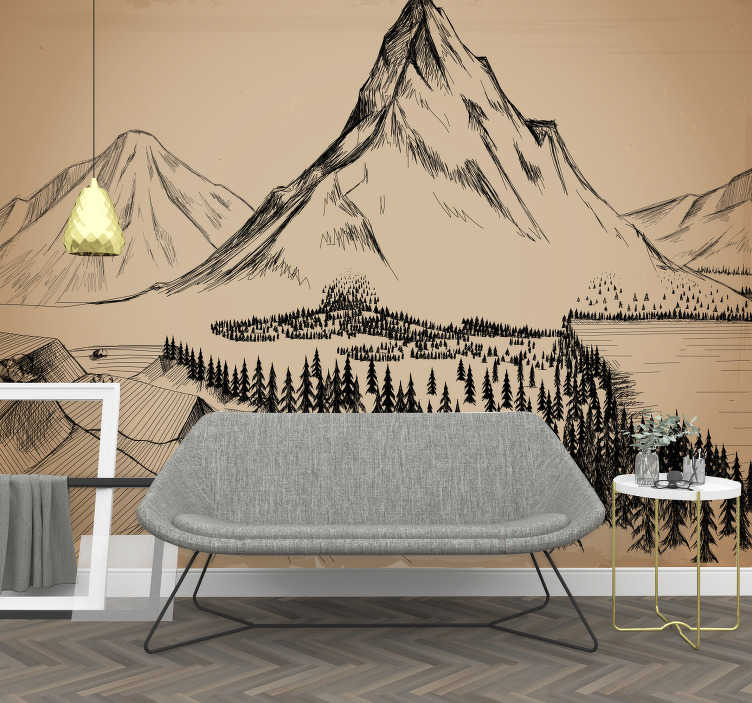 TenStickers. Pines with rocks Forest mural. With this art wallpaper photo you can show your passion for architecture by taking them into your home and hanging them up.