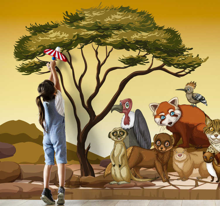 TenStickers. Jungle animals mural wallpaper. This beautiful wall mural shows images of Jungle animals that are cozy close together and beautifully depicted. This is especially for your children.