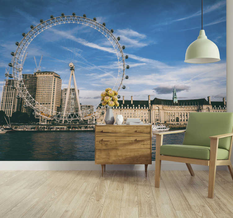 TenStickers. Wall mural London Eye at dusk. Let your guests discover this enormous city every day without even moving out from your home! This city wall mural is made in the highest quality!