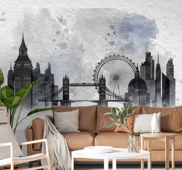 TenStickers. Wall mural London skyline. Beautiful skyline with the most characteristic symbols of the biggest cities in the world can be in your room! Choose the size you need and order now!
