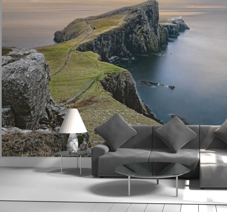 TenStickers. Scotland Neist point mural wallpaper. Natural landscape scenery wall mural design created with rock across the sea and a land on the other side. This  will beautify your home with class.