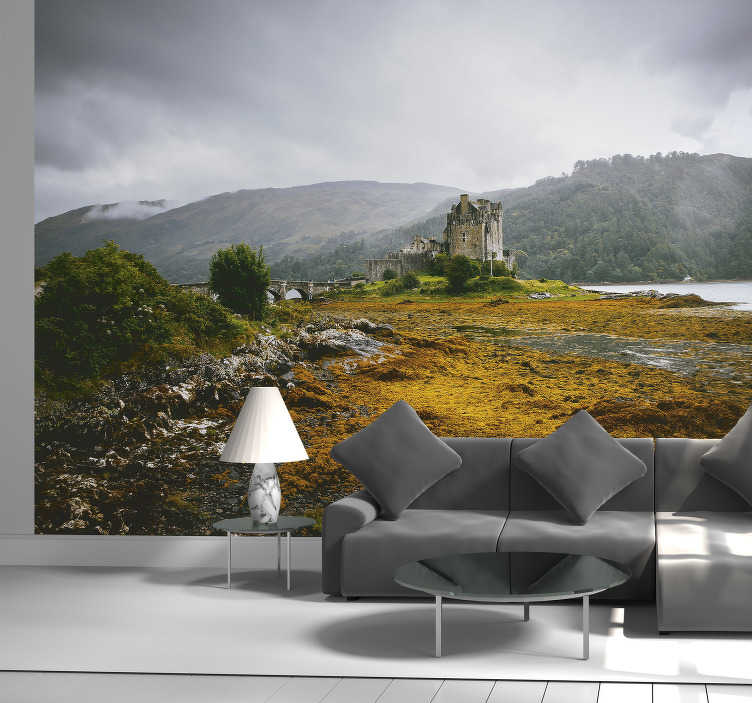 TenStickers. Scottish castle highlands wall mural. A natural landscape of rock with castle wall mural that you will love to decorate your home with. This design is easy to apply and you can chose  size.